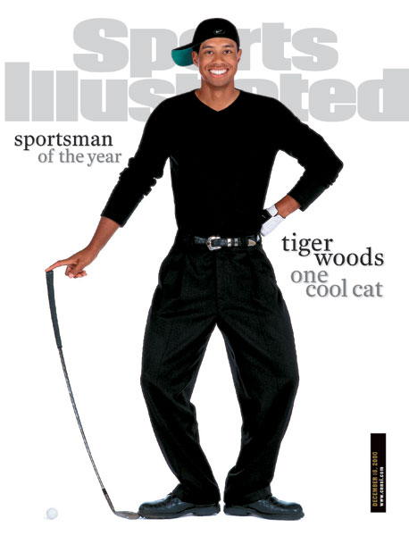Tiger Woods poses in Sports Illustrated.