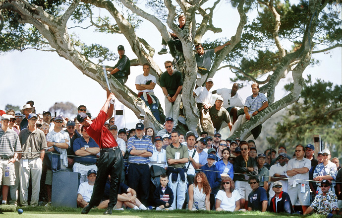 Tiger Woods at the 2000 U.S. Open                           	He is only a man, prone to ordinary foibles. But at the 2000 U.S. Open, Tiger Woods seemed more like a machine, ripping through the course with robotic precision while outpacing the field by a record 15 shots. Woods was the only player to break par in the event, putting on a show that Tom Watson later called the greatest display of golf of all time.