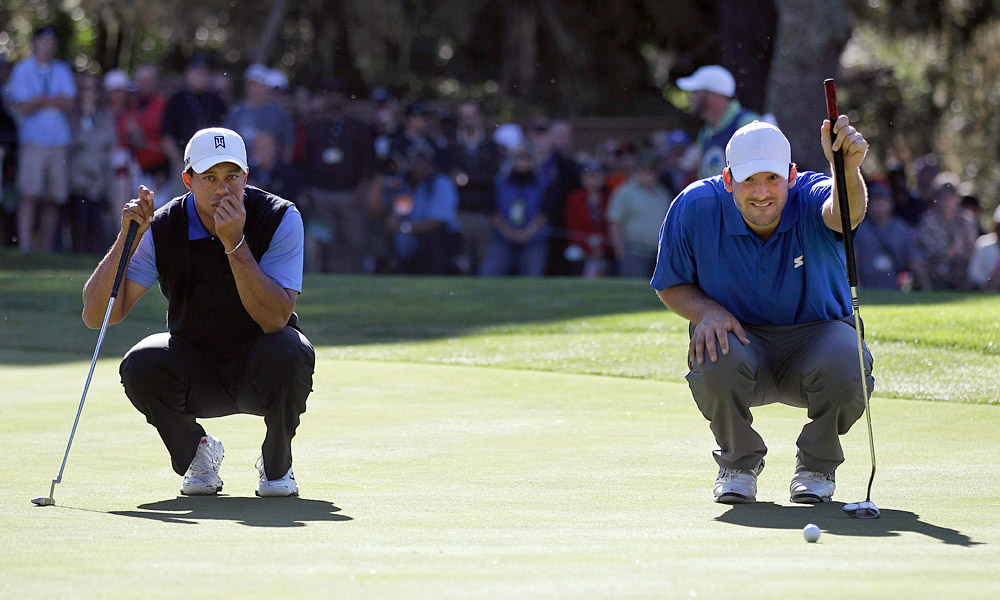 Woods's pro-am partner this week is Dallas Cowboys quarterback Tony Romo.