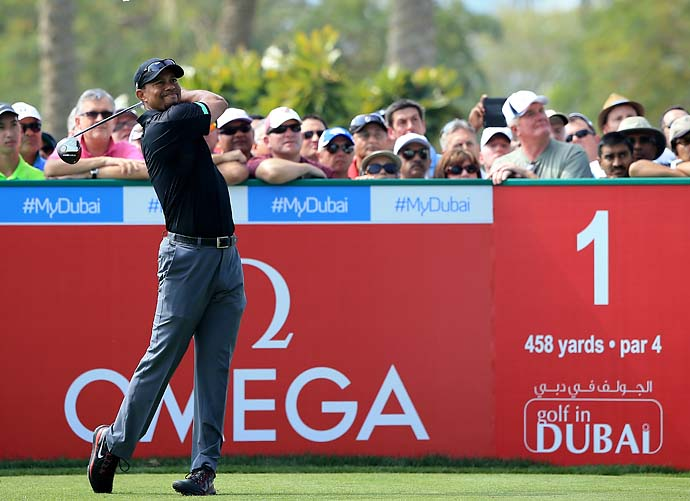 Tiger Woods in action during the second round of the 2014 Omega Dubai Desert Classic.