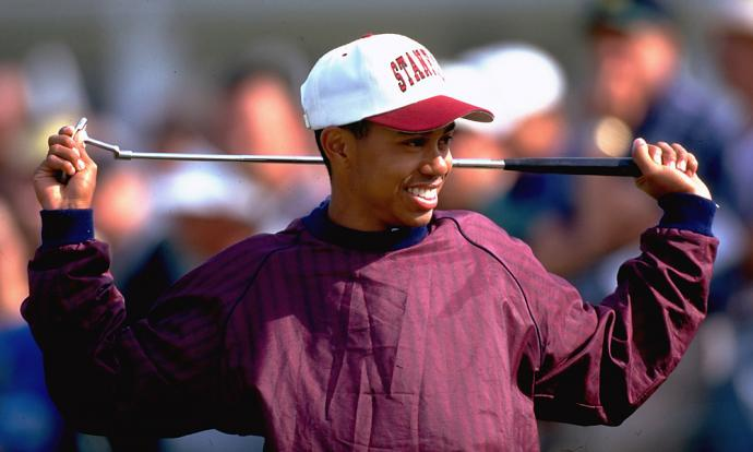 Tiger Woods at the 1995 Masters. He was 19 and on the Stanford golf team, having earned his trip to Augusta National by winning the 1994 U.S. Amateur.