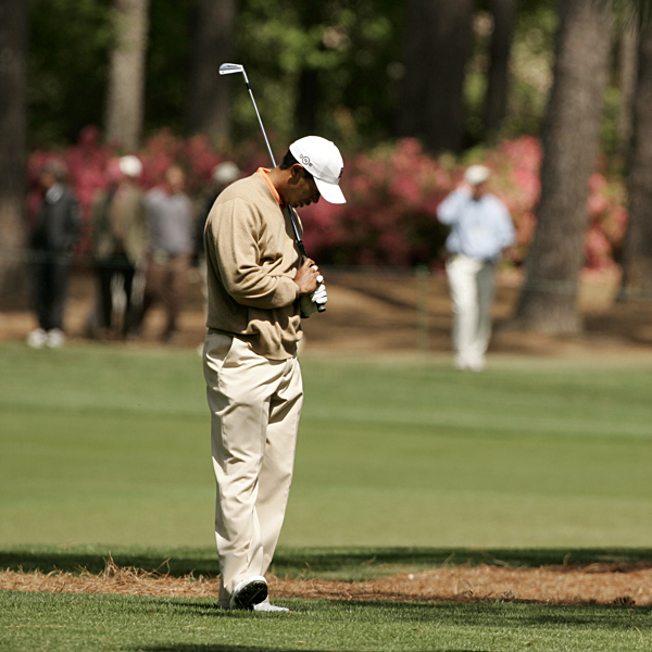 Woods played the three holes of Amen Corner in two over par.