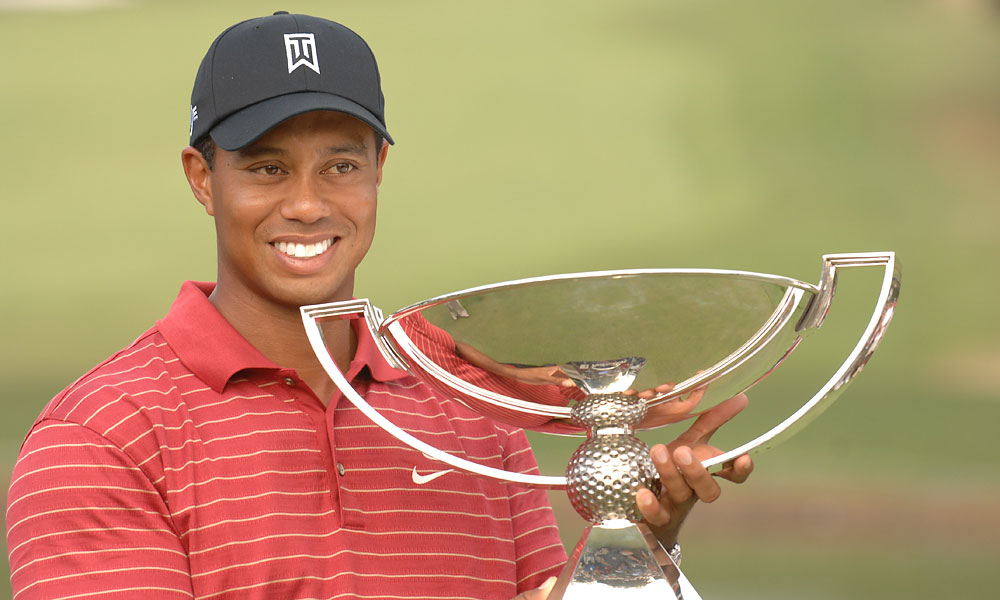 2007: Tiger Woods                           Woods played in three of the four playoff events and won two of them, including the Tour Championship at East Lake, which was more than enough to take home the inaugural FedEx Cup.