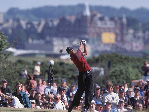 Navigating St. Andrews effortlessly, Woods's eight-stroke win at the 2000 British Open was his first of three Open Championships.