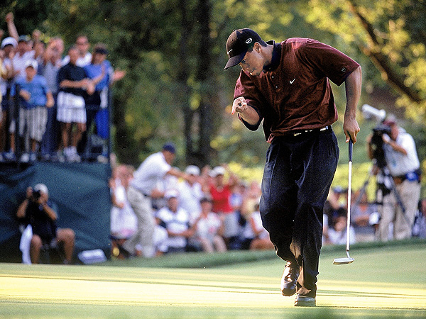 No. 5: 2000 PGA Championship                       At Valhalla Country Club in Louisville, Ky., Woods was pushed to the limit by Bob May but won a three-hole playoff to successfully defend his PGA Championship title in 2000.