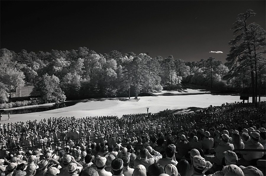While at the 2012 Masters, Sports Illustrated photographer Robert Beck used a Nikon D700 fitted with a sensor that reads infrared light to capture these unique images of Augusta National. Here, Tiger Woods tees off on the par-3 12th hole.