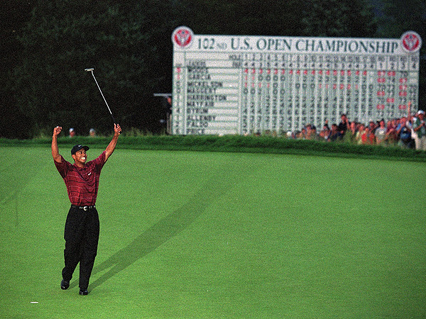 No. 8: 2002 U.S. Open                           For the first time, the U.S. Open was played on a municipal course, Bethpage Black, in 2002. On one of the toughest courses Tour players had ever faced, Woods held off Phil Mickelson to win by three shots.