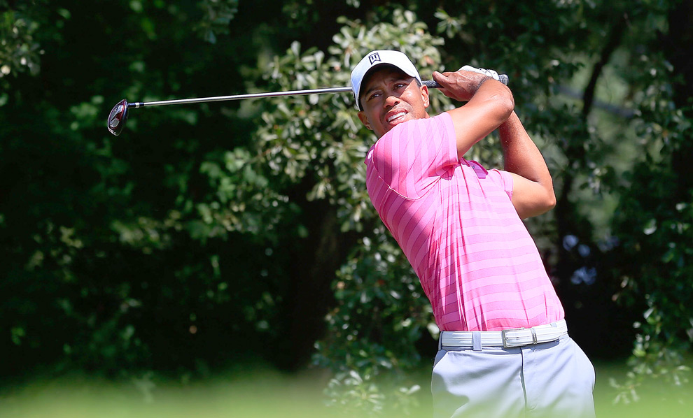 Tiger Woods started the day tied for the lead, but he's six shots back after a three-over 73.