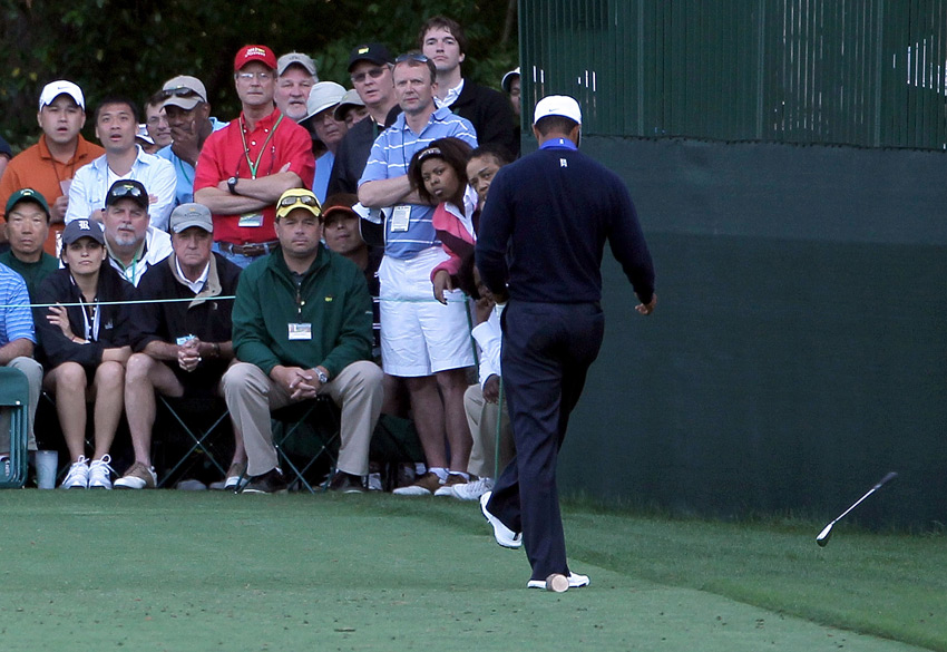 Tiger Woods                           Woods has always been known for his fiery displays of emotion on the course, but he turned downright petulant during the second round of the Masters. At the par-3 16th, Woods hit a 9-iron into a bunker, dropped his club and then kicked it off the tee box. He apologized the next day.