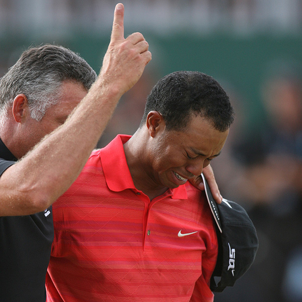 After winning the 2006 British Open at Royal Liverpool, Woods broke down in tears. It was his first victory after the death of his father, Earl, in May.