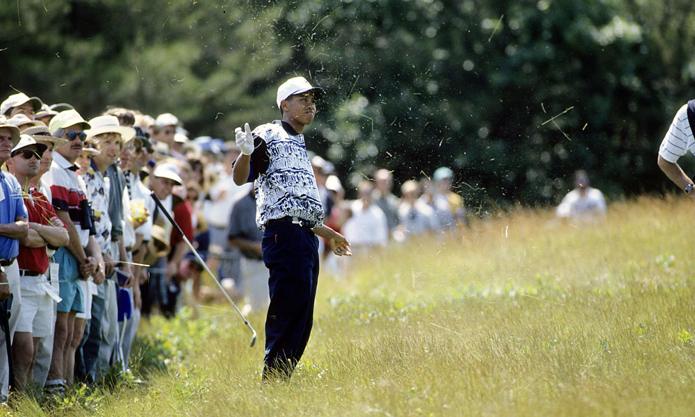 Tiger Woods was an amateur when he played his first U.S. Open in 1995 at Shinnecock Hills in Southampton, N.Y. He withdrew during the second round with a wrist injury.