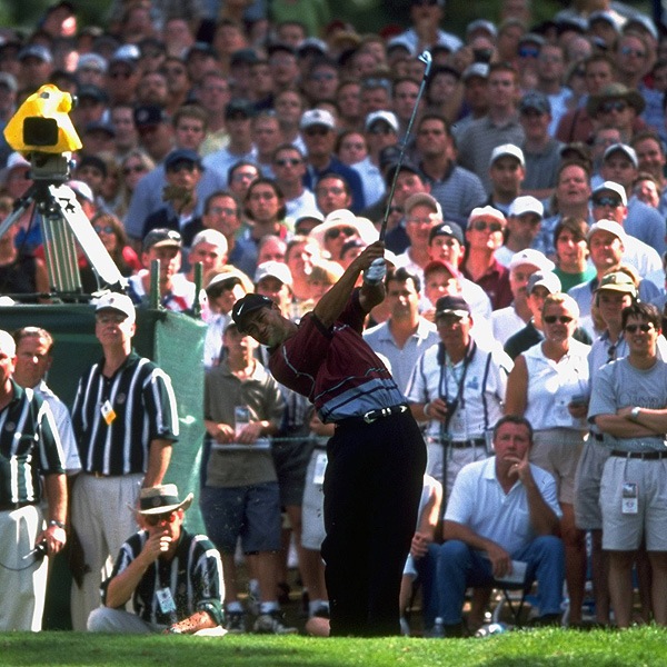 Tiger's PGA Championship Triumphs                                              1999                                              Tiger Woods's precision iron game was on display throughout the week at Medinah Country Club outside Chicago. Few players could hit their shots as far or as high as Woods, giving him a huge advantage on the 7,401-yard course.