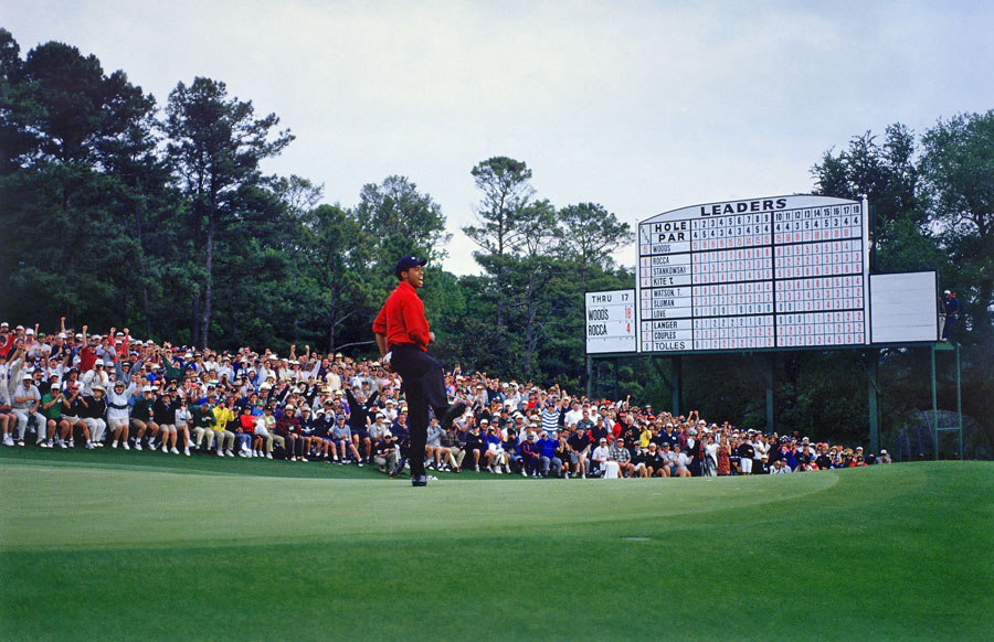 In his first start at Augusta National as a professional, Woods dominated the field to win by 12 strokes with a record 18-under total.