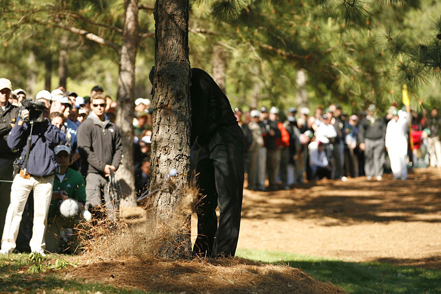 Woods snapped his club on a tree on No. 11 during the final round of the 2007 Masters. He tied for second at three over, two shots behind Zach Johnson.