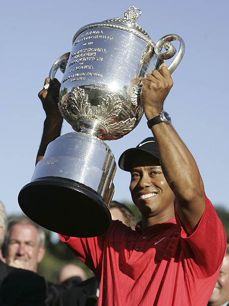 Woods went into Sunday tied for the lead, and used a final-round 68 to beat Shaun Micheel by five strokes in the 2006 PGA Championship.