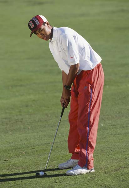 """I am looking for a few tough kids. Winners! want to have the university's golf program results right up there with the many other sports.""                       --Stanford golf coach Wally Goodwin in a recently published 1989 recruitment letter to Tiger Woods. (Photo of Tiger Woods at Stanford in 1994.)"