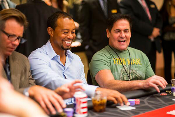 Tiger Woods and Mark Cuban hit the tables at Tiger's Poker Night, a Tiger Jam 14 activity sponsored by the World Poker Tour.