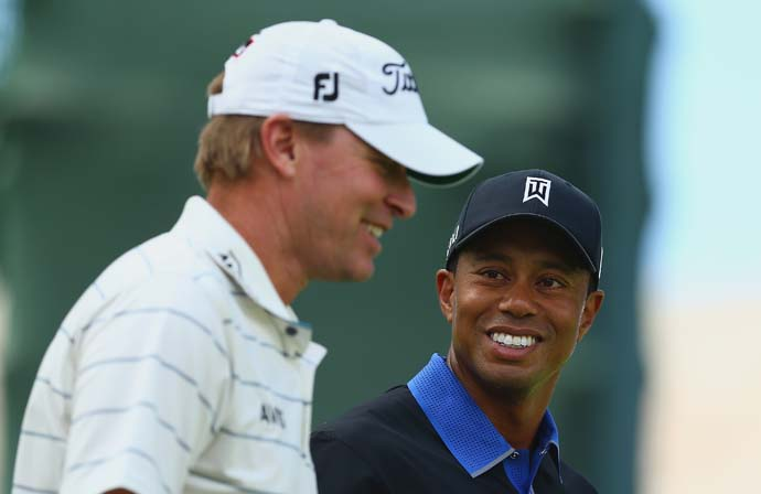 Tiger Woods played a practice round with old friend Steve Stricker on Monday at Oak Hill. Unlike Doral earlier this year, Woods did not ask Stricker for a putting tip, according to the Golf Channel.