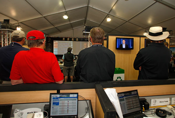 The media center at the WGC-Accenture Match Play Championship in Arizona.
