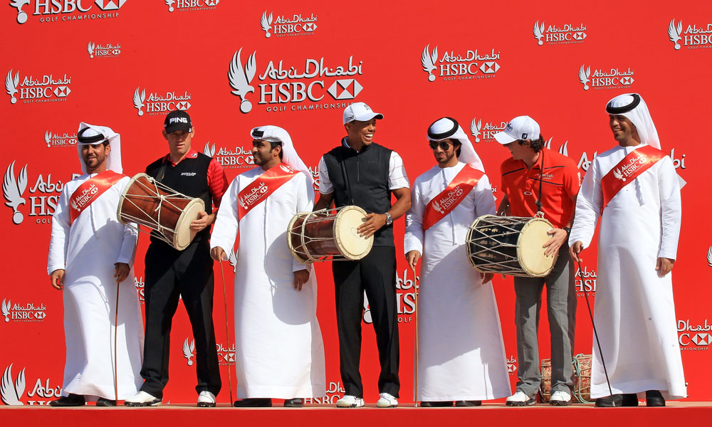 Lee Westwood,Tiger Woods and Rory McIlroy performed a traditional dance before the start of the 2012 Abu Dhabi Championship.