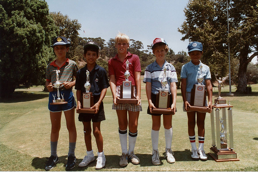 Tiger Woods [far right] won the 9- and 10-year-old division at the 1985 Junior World Golf Championship.