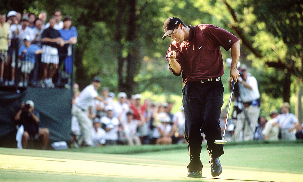 Woods successfully defended his PGA Championship title in 2000 at Valhalla Country Club in Louisville, Ky. Woods was pushed to the limit by Bob May but won a three-hole playoff.