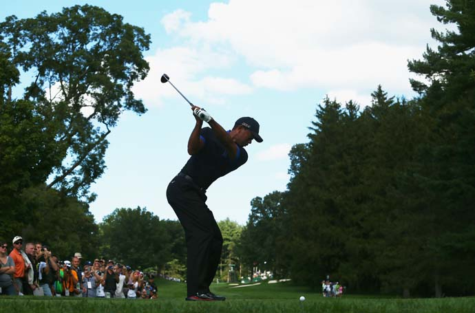 Recognize that swing? Tiger Woods is in vintage form at Oak Hill following his seven-shot win at Bridgestone.