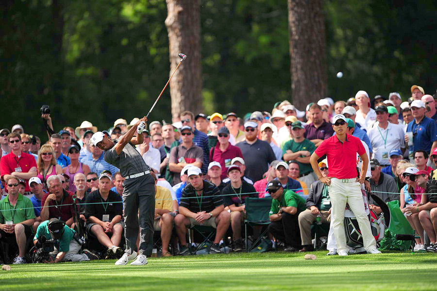 Tiger Woods bogeyed the last two holes to finish at even par.