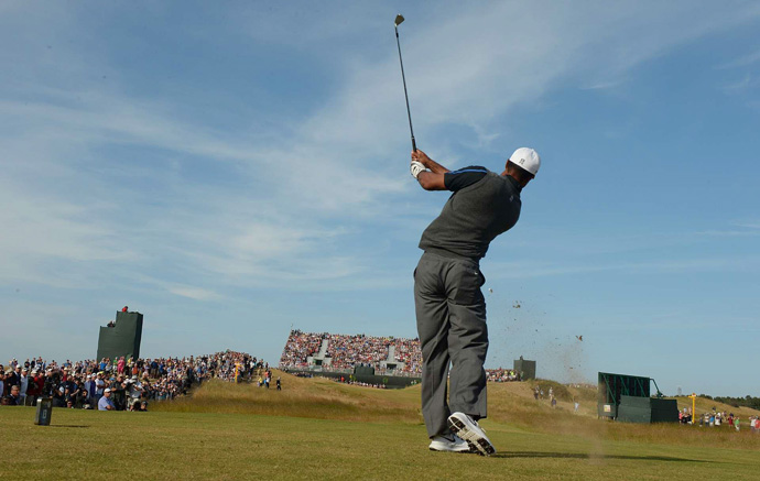 Tiger Woods shot a one-over 72 and will be in the next-to-last group on Sunday.