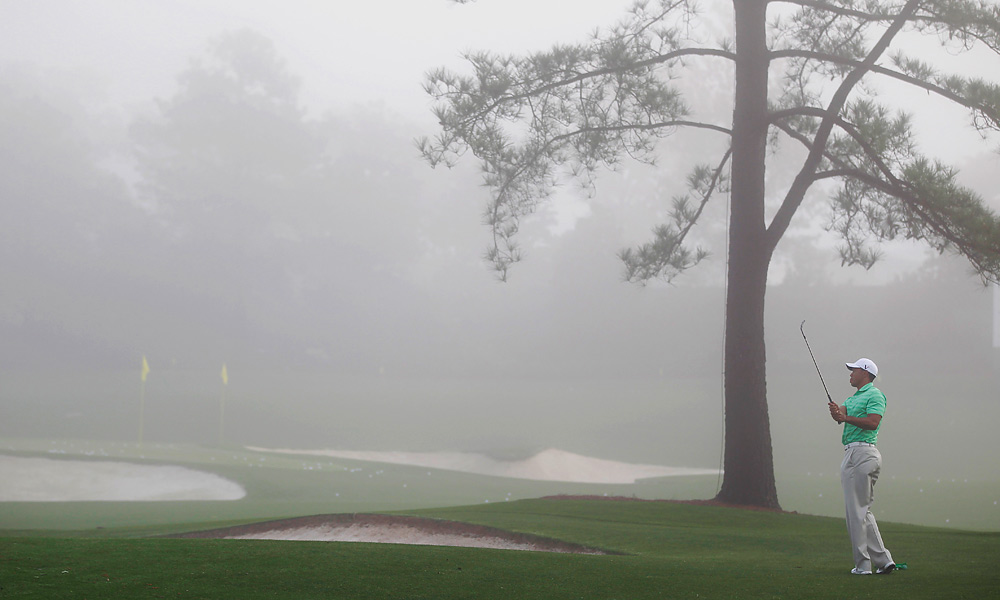 Tiger Woods was at the fog-covered practice facility early Wednesday morning.