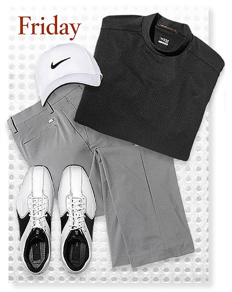 FridaySHIRT: Texture Mock turtleneck ($75) PANTS: Dri-Fit Tour Pleat SHOES: Air Tour TW 8.5 CAP: Tour Swoosh Flex