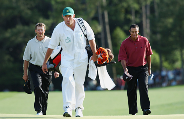 "Retief Goosen                             2002 Masters, Augusta National Golf Club                             Started: Tied with Woods                             Finished: Second after a 74                             Woods' score: 71                             Key stat: Goosen bogeyed one,Woods birdied two and                             three, and no one got within three shots of Woods the rest                             of the day.                             Where it all went wrong: Goosen three-putted twice in                             the first five holes and failed to get up-and-down at the sixth.                             Telling comment: ""I was getting myself on the wrong side                             of the green and couldn't two-putt,"" Goosen says."