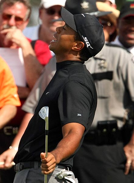 Tiger attempted to follow up a birdie on the eighth with another on the ninth Friday, but much to his dismay, he missed the opportunity.