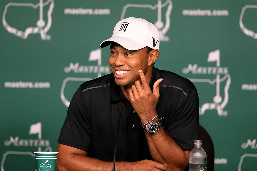 Woods spoke to the media at the press conference after his practice round Tuesday.