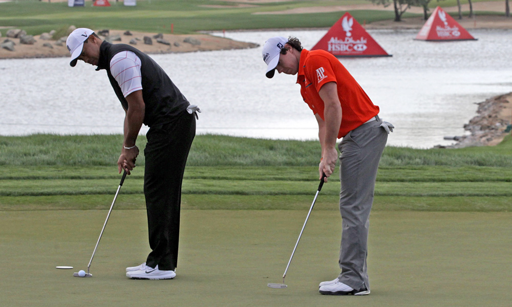 Tiger Woods and Rory McIlroy played a practice round together on Tuesday in Abu Dhabi.
