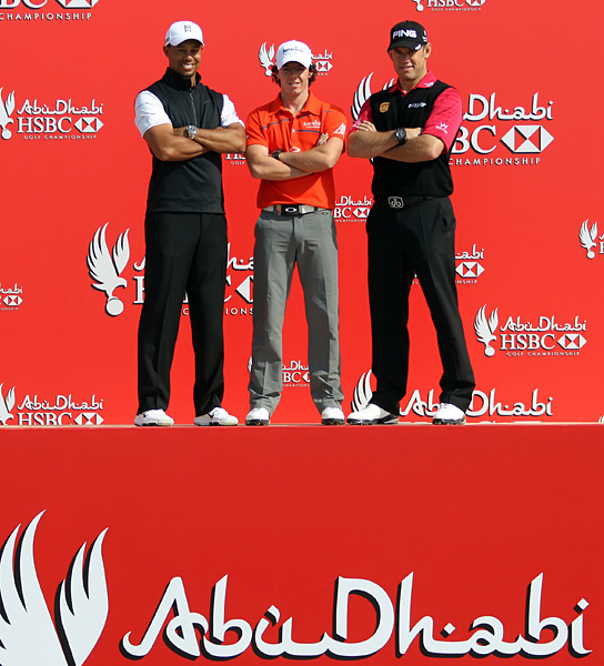 According to the Associated Press, Woods took part in traditional Emirati dancing with Westwood and McIlroy