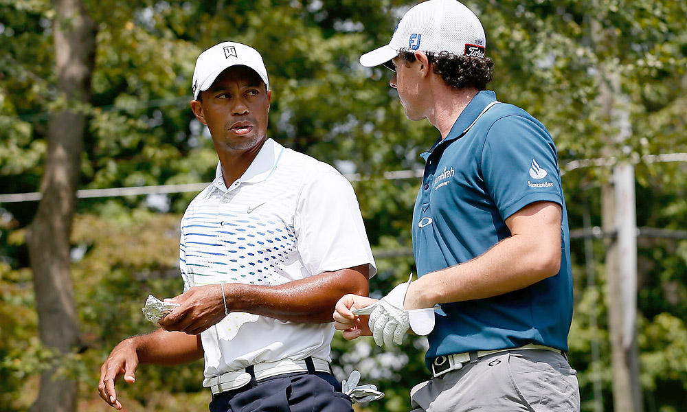 Rory McIlroy and Tiger Woods, ranked No. 1 and No. 2 in the FedEx standings, faced off at East Lake Thursday at the Tour Championship.