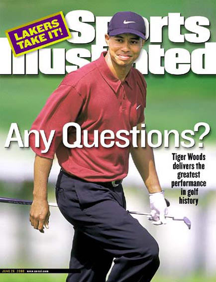 June 26, 2000                           Woods wins the U.S. Open at Pebble Beach by 15 shots. Read the story.