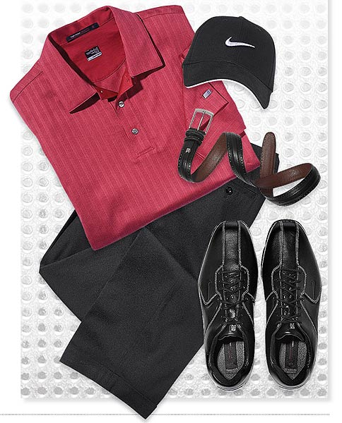 Sunday SHIRT: Vertical Stripe polo ($80) PANTS: Black Collection ($95) SHOES: Air Tour TW 8.5 ($230) CAP: Tour Swoosh Flex ($27.50) BELT: Tiger Woods ($70)