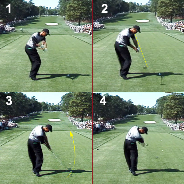 "If you look at Tiger's 2000 position, shown here, you can see that he's swinging more from the inside and the club is working away from his body after impact. This ""letting go"" is a trait shared by all great drivers of the ball.                                               The Fix                       Tiger needs to get back to delivering the club on an in-out path and stop trying to hold off his release. This is good advice for you, too, but for a different reason. Tiger is making a conscious effort to hold off his release. You're probably holding off your release because your motion is forcing you to. Picture yourself in a batter's box and think about starting the ball to the right of the pitcher's mound. Be an opposite-field hitter and your arms will shoot out away from your body."