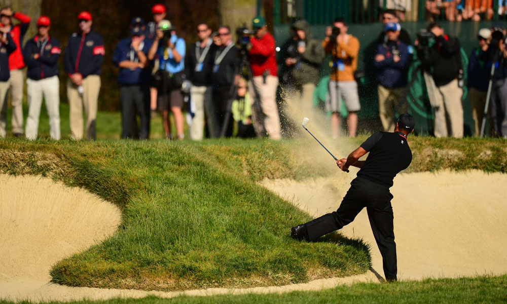 Woods made three birdies and three bogeys in a round that found him in a number of adventurous lies.