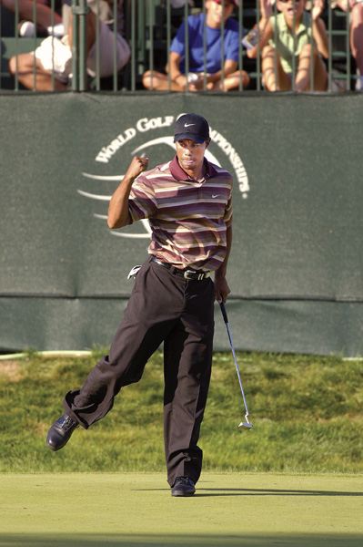 Woods started another run of wins at Firestone with a one-shot victory over Chris DiMarco at the 2005 Bridgestone Invitational.