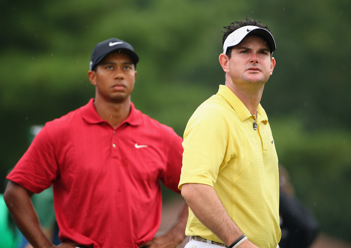 "At the 2007 Wachovia Championship, Rory Sabbatini said Woods was ""more beatable than ever."" Sabbatini would lose at Wachovia to Woods, and then he was thumped by Woods again at the Bridgestone Invitational by eight strokes. It was the second time Woods had completed a three-peat at Firestone."