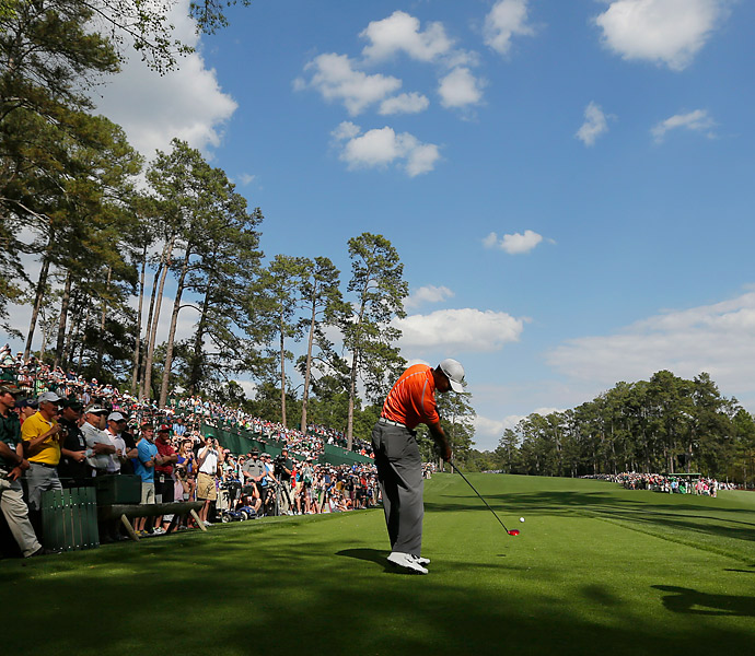Tiger Woods, who has already won three times this season, played a Monday afternoon practice round at Augusta.