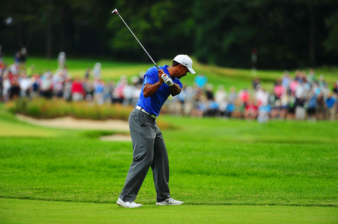 Woods made four bogeys and two birdies on Thursday.