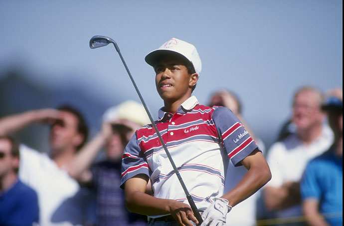 """I took the club back, I'll never forget how heavy the club felt all of a sudden.  Knocked it down there right in the middle of the fairway actually and then hit it on the green and 2‑putted, birdie.""                       --Tiger Woods remembering his first tee shot at a PGA Tour event on the 22th anniversary of his PGA Tour debut at the Los Angeles Open in February 1992."
