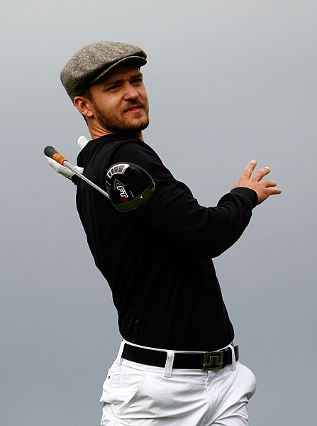 Timberlake hit an errant tee shot on the sixth hole.