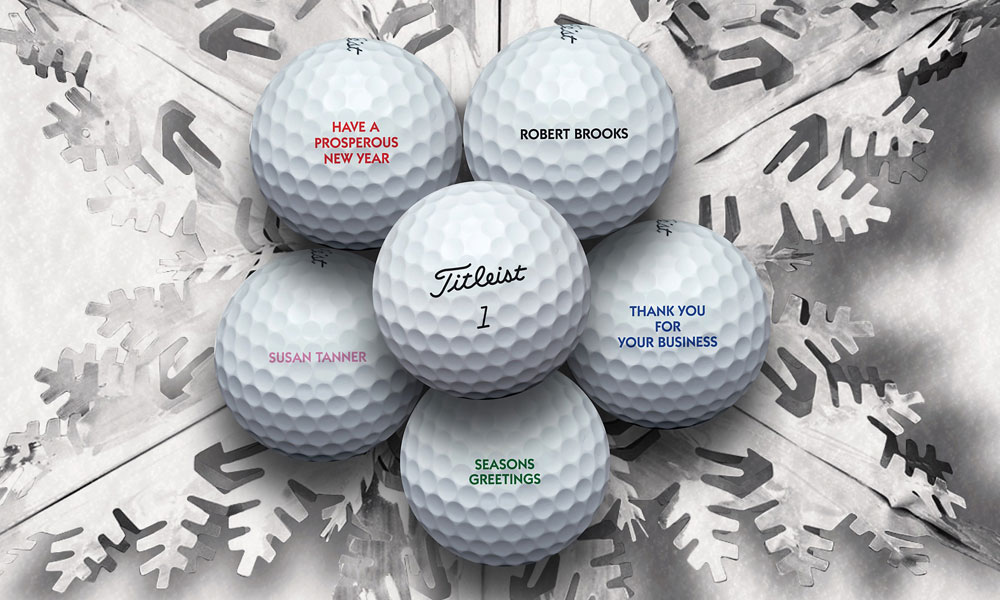 Titleist Custom Balls                       price varies, Find your local Titleist retailer                       Titleist is offering free personalization on all golf ball models in standard numbers. The minimum order requirement is one dozen, and balls can be imprinted in black, blue, red, green or pink ink. Orders received by Dec. 7 are guaranteed to arrive by Dec. 24 via normal ground freight.
