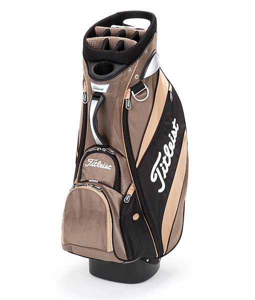 Titleist Lightweight, ($205; Buy it Now)                       Designed for both pull cart and motorized cart use, the Lightweight Cart bag is available in eight color options. Contoured handles integrated in the top cuff and middle of the bag ensure easy loading, while a dry grip bottom keeps the bag secure. Each one of eight zippered pockets is accessible while the golf bag is strapped on the cart. Available for purchase