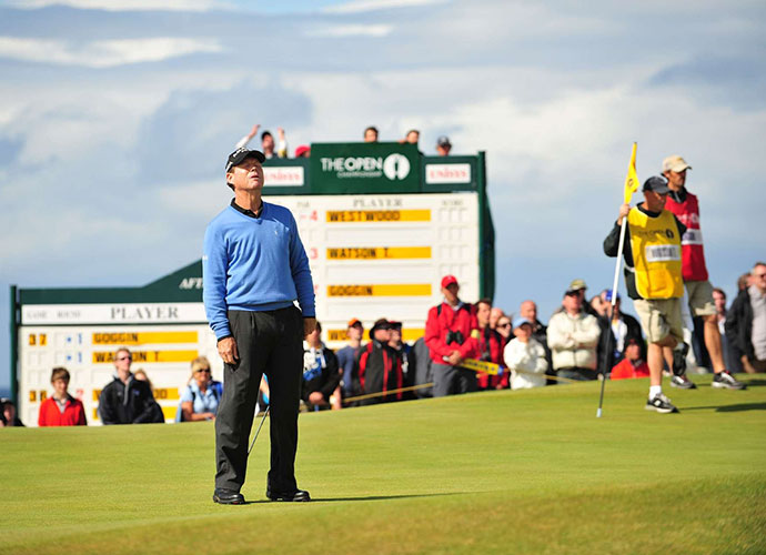 With one hole to play and a one-stroke lead, 59-year-old, five-time Open champion Tom Watson was about to make history in the 2009 British Open. He would win a record-tying sixth Open, and also become the oldest man -- by far -- to win a major. Following an ideal drive, he struck a near-perfect 8-iron to the par-4 18th. Whether it hit three feet too far, or simply caught a horrific break, it bounded over the green. Watson bogeyed, and lost a playoff to Stewart Cink.